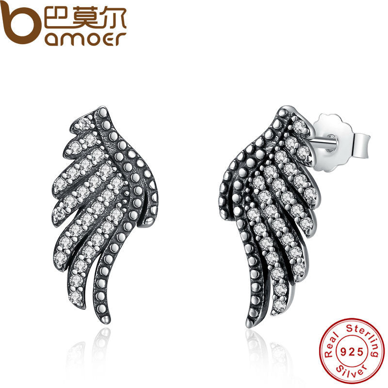 BAMOER Authentic 100% 925 Sterling Silver Majestic Feathers Phoenix-Wing Stud Earrings With White Clear CZ PAS426