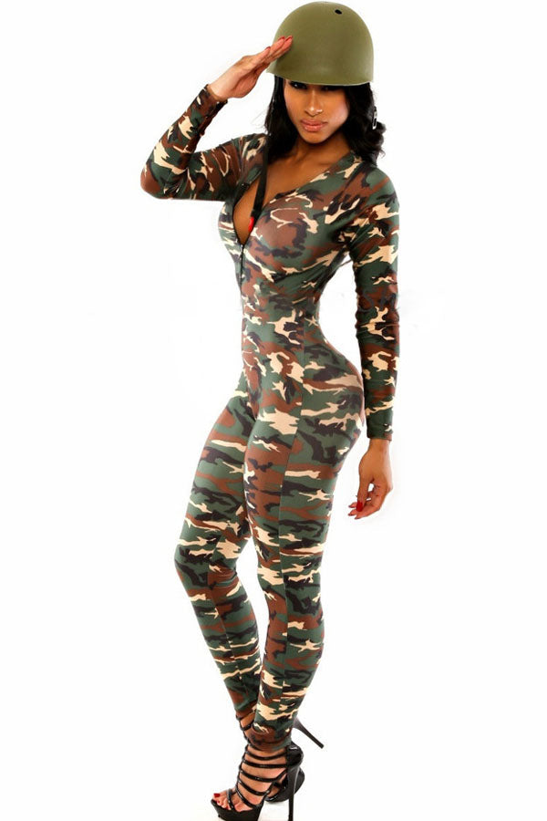 Rompers Womens Jumpsuit 2016 Fashion Hot Sell Sexy Jumpsuit V-Neck Long Sleeve The Army Soldier Catsuit High Quality S6918
