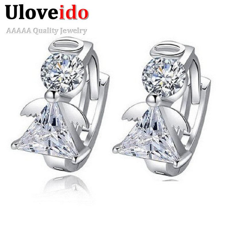 Angle Stud Earring Women Earings Fashion 925 Sterling Silver Crystal Earrings 2015 New Nickel Free Wholesale Jewelry Ulove DML51