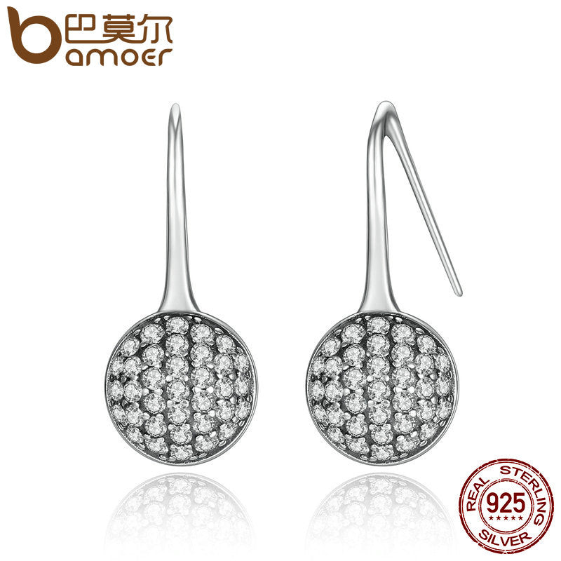 BAMOER 2016 New 925 Sterling Silver Round Dazzling Droplets, Clear CZ Drop Earrings Fashion Jewelry Brincos PAS491