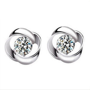 LOWAY 925 Sterling Sliver Prata Fashion Jewelry 8MM Spin Flower Round 2 Carat Cubic Zirconia Silver Stud Earrings ED2632