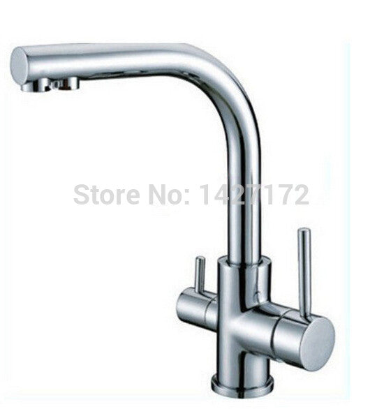 Contemporary New Polished Chrome Brass Kitchen Faucet Dual Handels Vessel Mixer Tap Pure Water Faucet