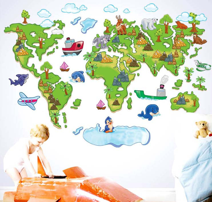 Cartoon world map children real  decoration wall stickers wallpaper  for kids wall rooms Decor DIY  Removable Vinyl  Art Wall