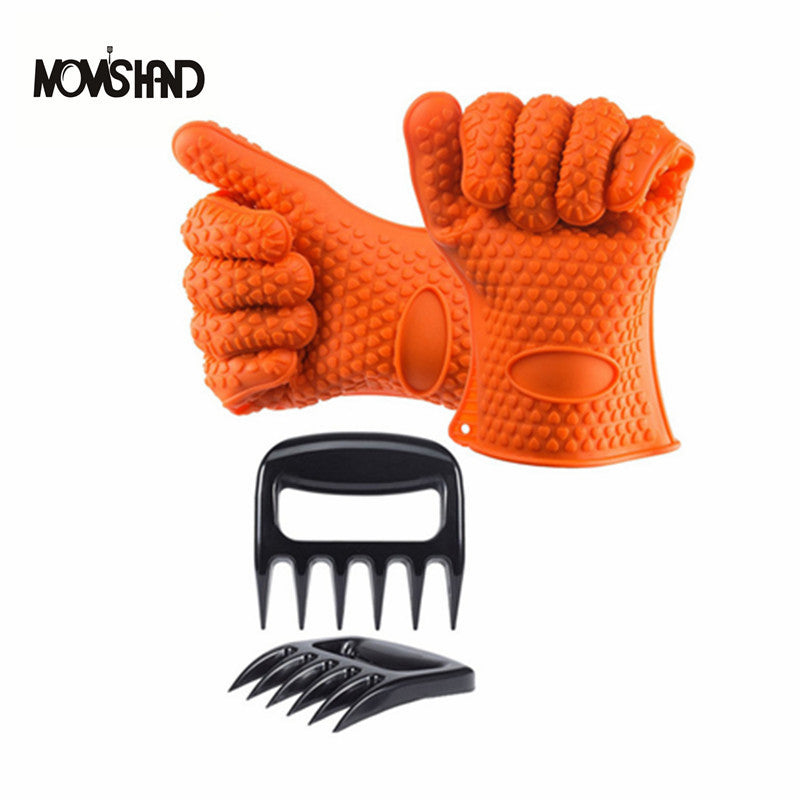 4pcs/set Heat Resistant Silicone BBQ Grill 5 Fingers Gloves with Claw For Cooking Kitchen Oven Mitts