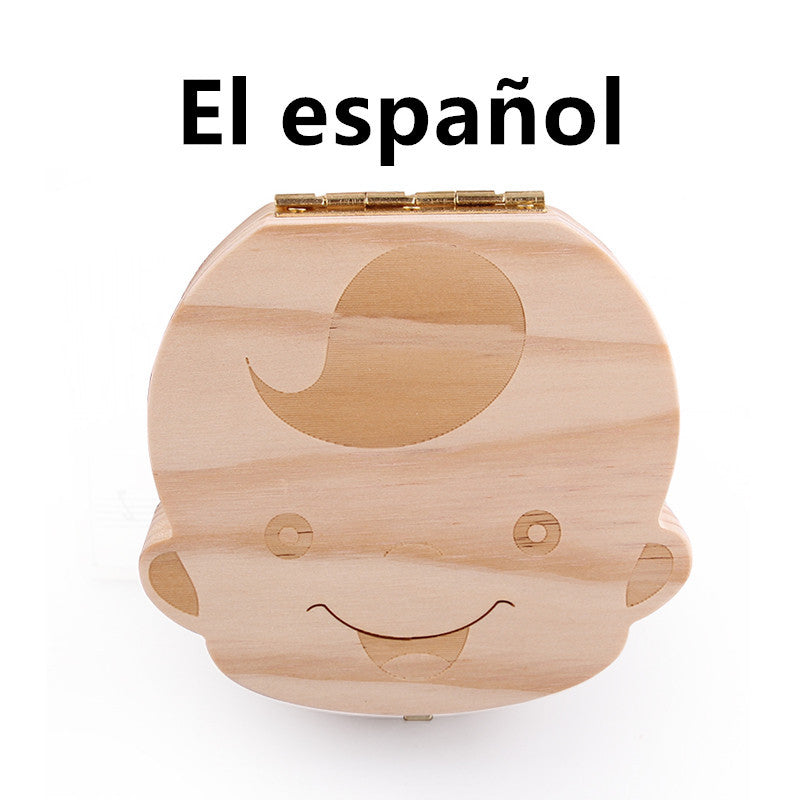 4 Language Baby Tooth Box organizer for Children Save Milk teeth Wooden Tooth Box Gift for Boy and Girl