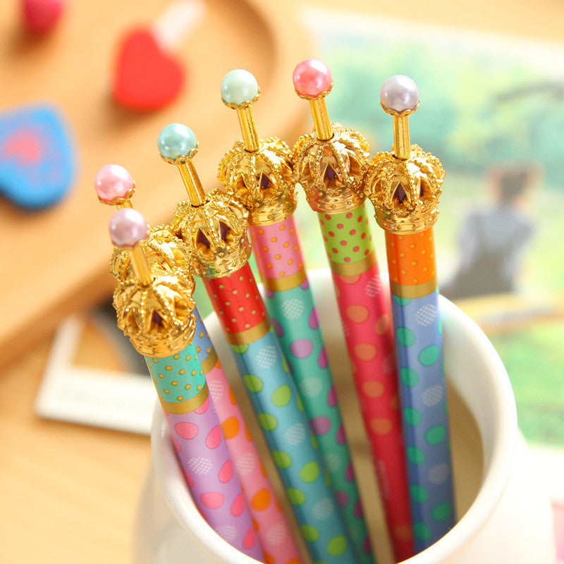 0.5mm Cute Kawaii Metal Crown Ballpoint Pen Dot Ball Point Pens for Writing  Stationery School Office Supplies Free shipping 424 - Blobimports.com