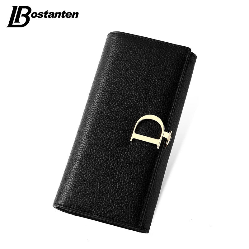 BOSTANTEN 2016 Genuine Leather Women Wallets Luxury Famous Brand Wallets for Women Coin Purses Holders Ladies Wallet Long Purses