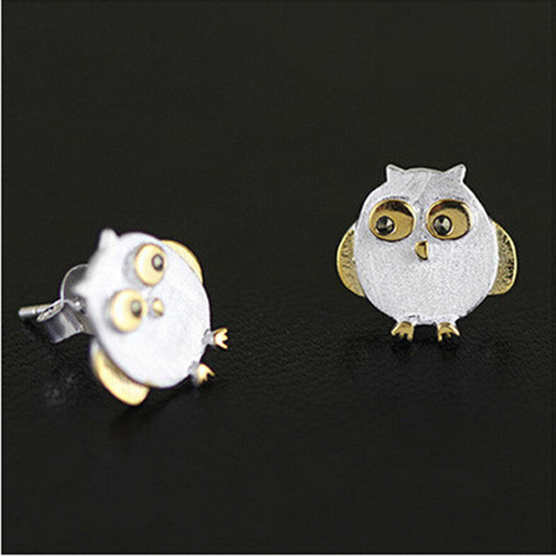 Factory price new arrival top quality 925 sterling silver earring fashion women jewelry luck charm cute owl stud earring
