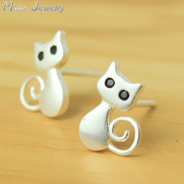 Hot Sell Fashion Personalized Sterling Silver Stud Cat Earrings Wholesale Jewelry Pendientes Brincos Fashion Jewelry