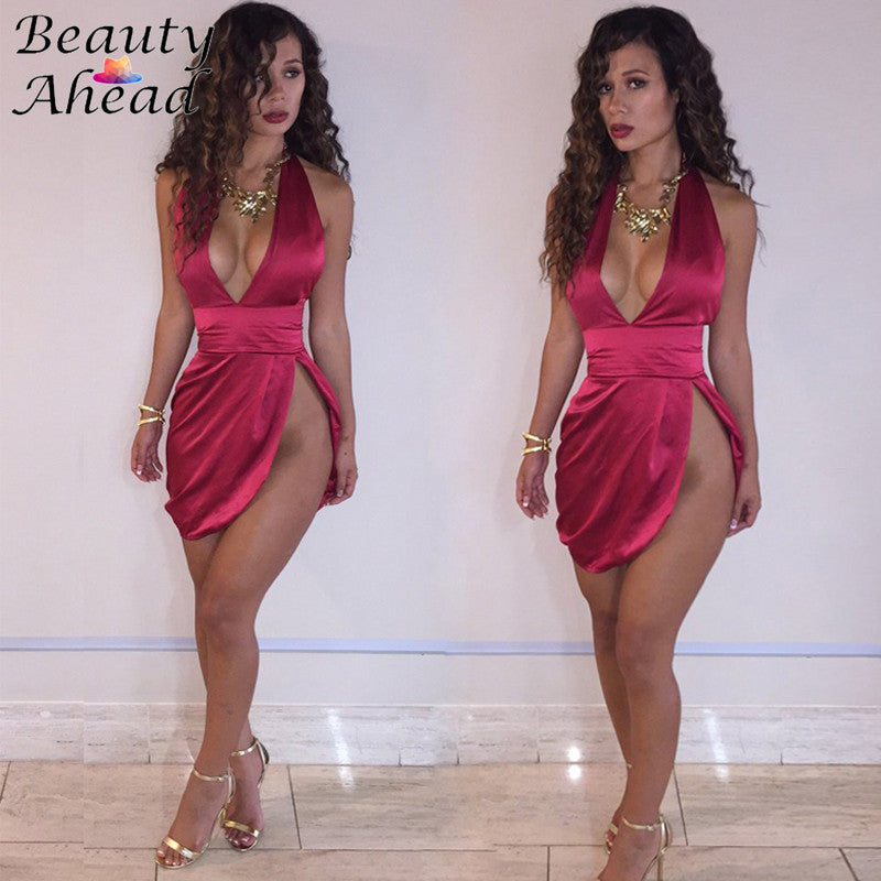 2016 Sexy Spaghetti Strap Deep V neck Side Slit Pleated Waist Elegant Dress Summer Style Women Solid Bandage Party Club Dresses