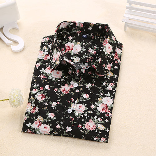 Women Long Sleeve Floral Dots Shirt