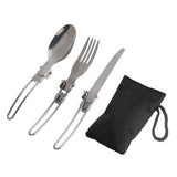 Outdoor Camping Picnic Tableware Stainless Steel Folding Fork and Spoon Tab utensilios de cocina  BHU2