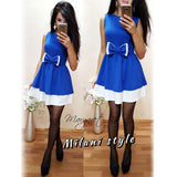 2017 New Spring Style Casual Women Bow Patchwork Dress  O-neck Sleeveless A Line Girl Party Elegant Robe Femme Mini dresses