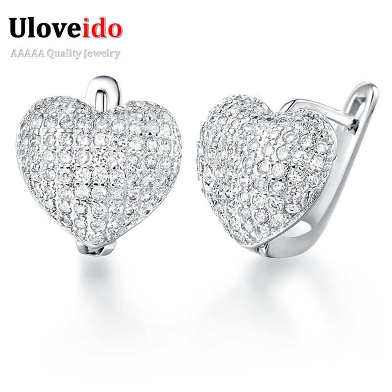 925 Sterling Silver Trendy Heart Stud Earrings for Women with Stone Simulated Diamond Earings Fashion Jewelry 2015 Ulove R139