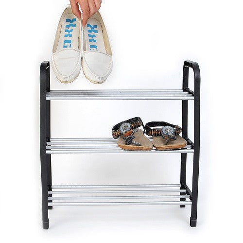 New 3 Tier Plastic Shoes Rack Organizer Stand Shelf Holder Unit Black Light Free shipping