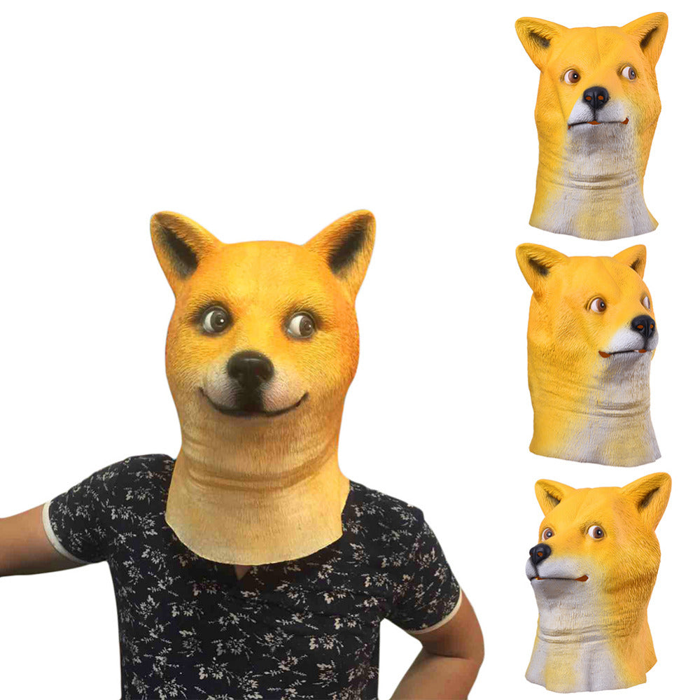 High Quality Latex Animal Mask Full Face Mask for Adults Halloween Mask Shiba inu Latex Mask Cosplay Party Costume Prop