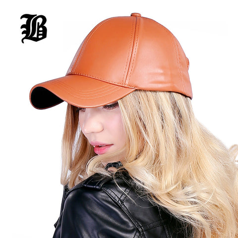 [FLB] Wholesale New Winter PU Leather Caps Baseball Cap Biker Trucker Outdoor Sports Snapback Hats For Men Women Hats And Caps