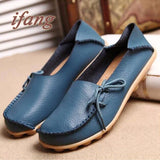 New Arrive Flats Women Four Seasons 2016 Casual Shoes Women Flat Heel Cow Muscle Outsole Fashion Flat Women GenuineLeather Shoes
