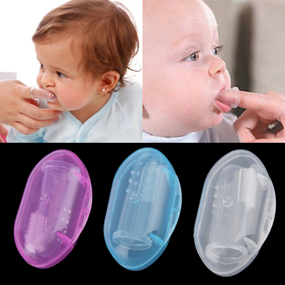 1Pcs Useful healthy Kids Baby Infant Soft Silicone Finger Toothbrush Teeth Rubber Massager Brush with box 2016 Hot