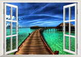 Natural scenery Bridge sea 3D Window Decal Home Decor View Removable Wall Art Sticker Vinyl wallpaper
