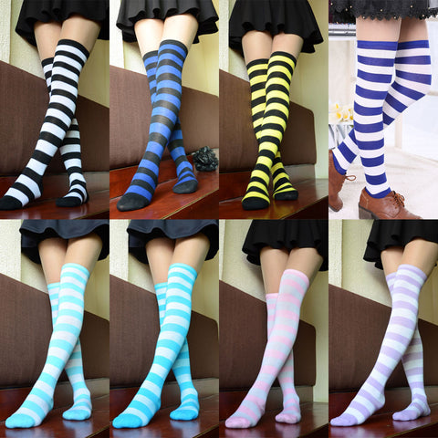 5226f75ef Hot New Sexy Women Girl Striped Cotton Thigh High Stocking Over the Knee  Socks Fashion Stockings ...