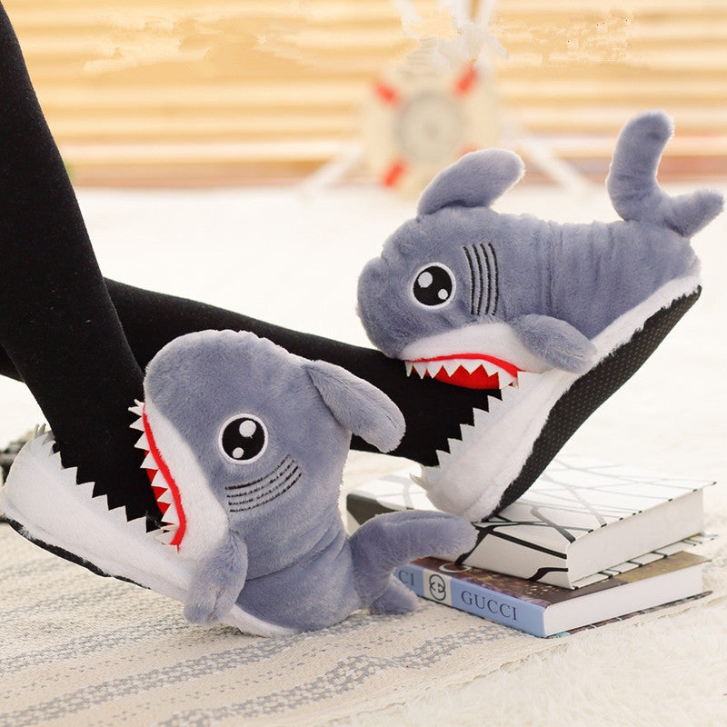 2017 Funny Novel Suck Off Sharks Stuffed Plush Slippers Shark Shape Shoes Home House Winter Slippers Plush Toys 28cm