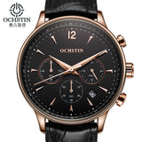 2017 Mens Watches Top Brand Luxury OCHSTIN Men Military Sport Wrist Watch Chronograph Leather Quartz Watch Relogio Masculino