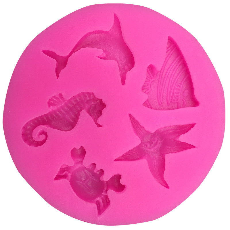 Free shipping Dolphins hippocampus starfish silicone mold chocolate fondant cake decoration Kitchen soap Tools FT-104