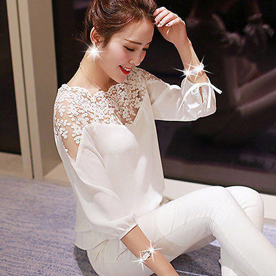 Womens Ladies Long Sleeve Loose Chiffon Blouse Casual Shirt Tops Fashion Blouse