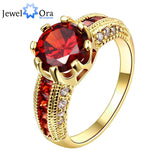 Luxurious Red Jewelry Wedding Engagement Accessories Gold Plated Women Rings For Party New (JewelOra RI101653)