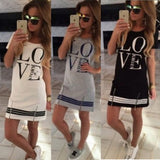 Popular Summer Style Casual Fashion Women Letter Print O Neck Short Sleeve Zipper Long above Summer knee dress Tops Blouse