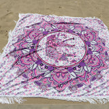 Summer Microfiber Beach SquareTowel Tassel Decor Elephant Pattern Beach Towel Serviette De Plage