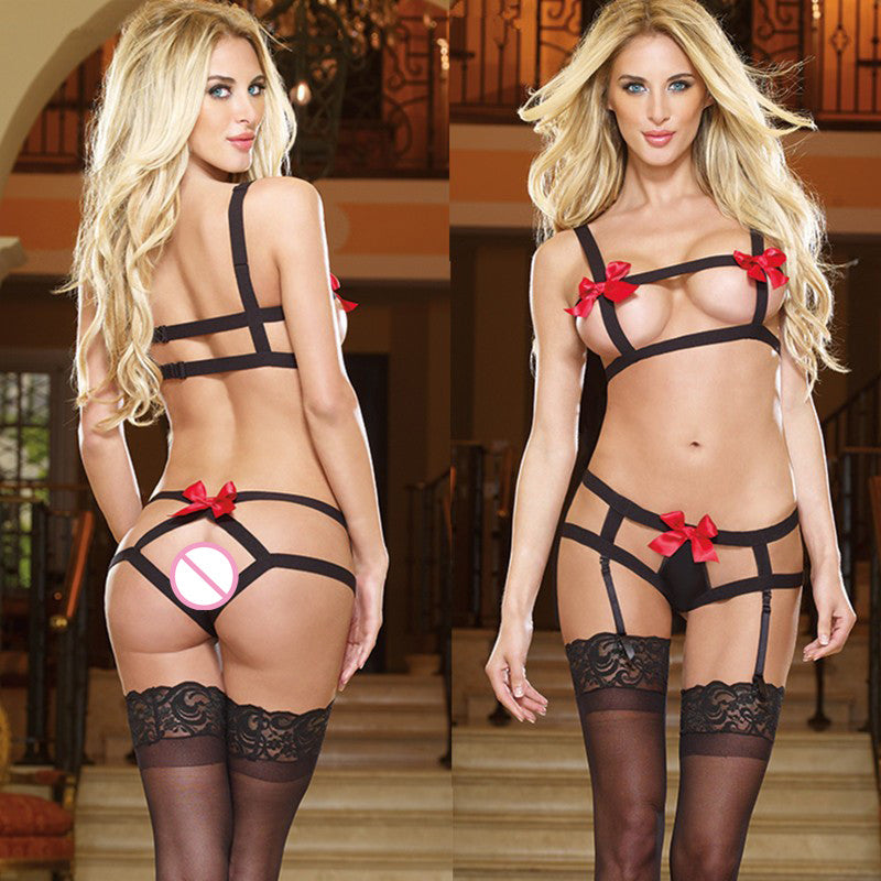SY184 sexy lingerie hot sexy open bra+G thongs lingerie set red bow black Bandage Bound hollow out bikini sexy costume