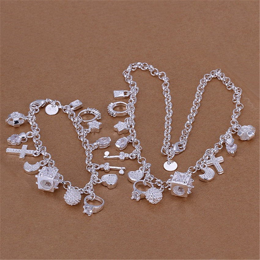 Christmas gift Pretty wedding  silver plated  fashion 13charms crystal pendant women party necklace bracelet jewelry Set S74
