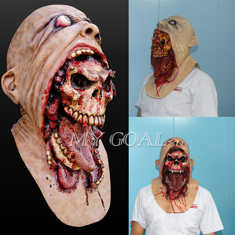 Halloween Latex Bloody Mask Zombie Face Melting  Walking Dead Horror Costume Party Prop