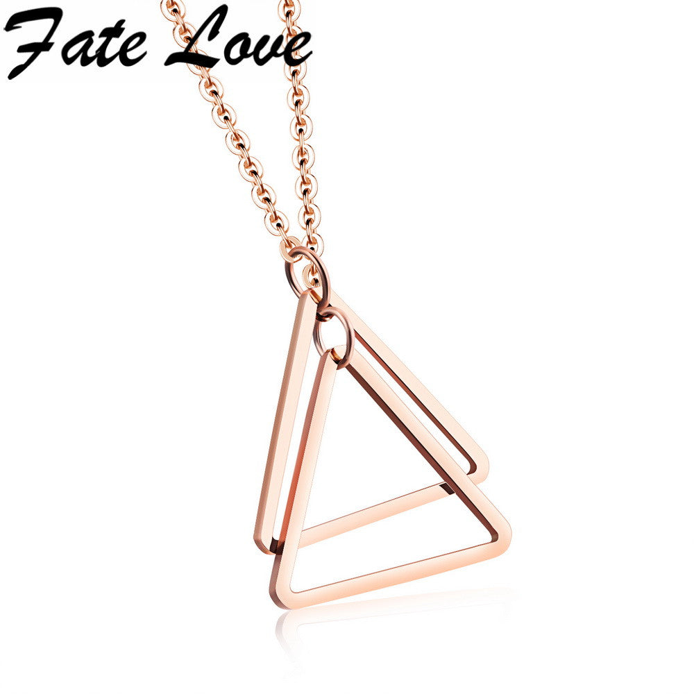 Fate Love Fashion Double Triangles Choker Rose Gold Plated Stainless Steel Necklace Pendant Jewelry For Women Lady FL1126