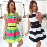 Candy Color 2016 New women summer dress sexry A line Striped Fancy Dress Pink party dress celebrity wholesale drop shipping