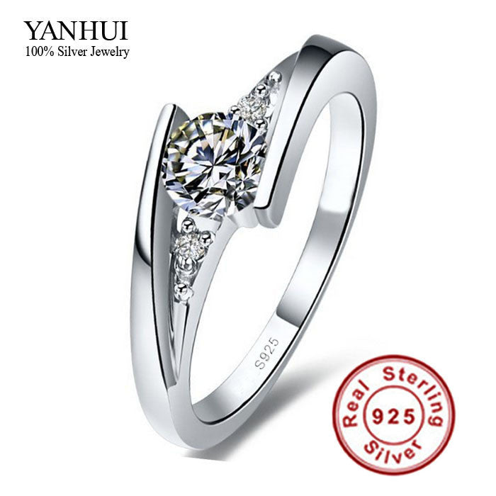Sent Certificate of Silver!!! 100% Pure 925 Sterling Silver Ring Set Luxury 0.75 Carat CZ Diamond Wedding Rings for Women JZR004
