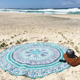 Indian Elephant Mandala Round Beach Towel Tapestry Hippy Boho Gypsy Polyester Tablecloth Beach Throw
