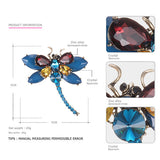 eManco 3 Colors Cute Animal Insect Dragonfly Brooches Pins for Women Blue Crystal Brooch Clothing Accessories Fashion Jewelry