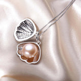 Zircon Shell Pearl Jewelry Pearl Pendant Necklace Freshwater Pearl 925 Sterling Silver Choker Necklace Women Statement Pendant