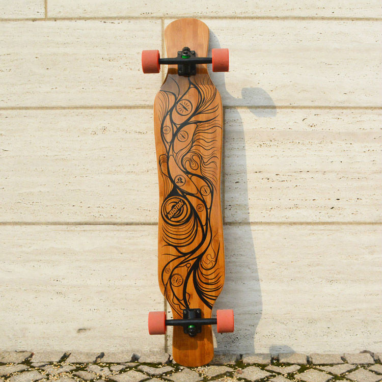 KOSTON pro dancing style longboard completes with bamboo & canadian maple mixed ,46inch long skateboard set for board walking