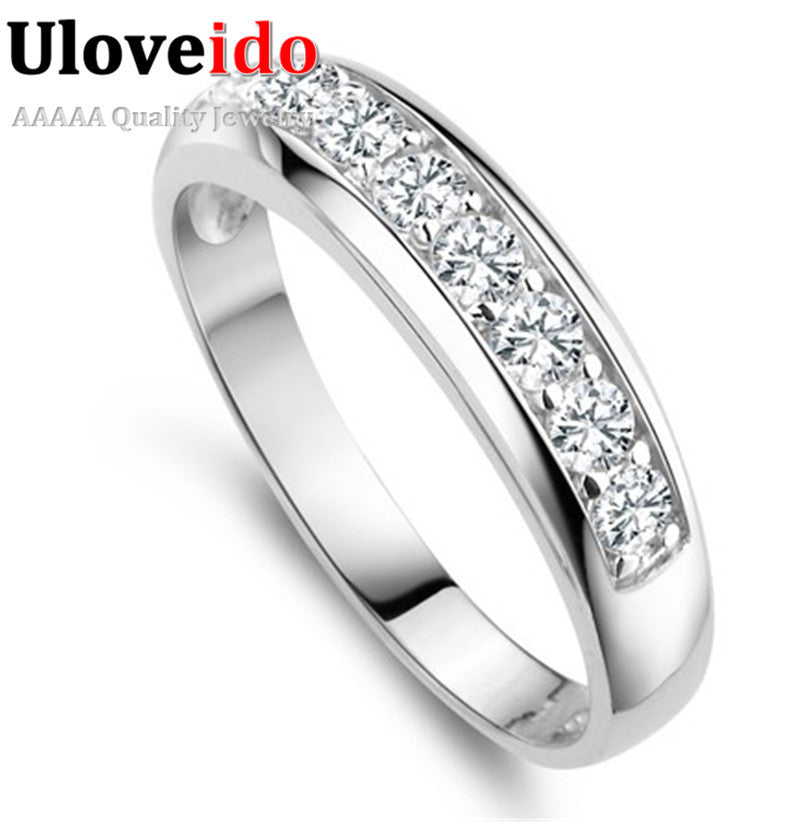925 Sterling Silver Wedding Band Rings for Women Simulated Diamond the Engagement Ring 2015 Jewelry Gift Wholesale Ulove J294
