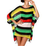 Hot Summer Fashion Sexy Womens Beach Cover Up Stripes Oversized Beach Swimsuit Cover-up Beach Wear Swimwear Dress Anne