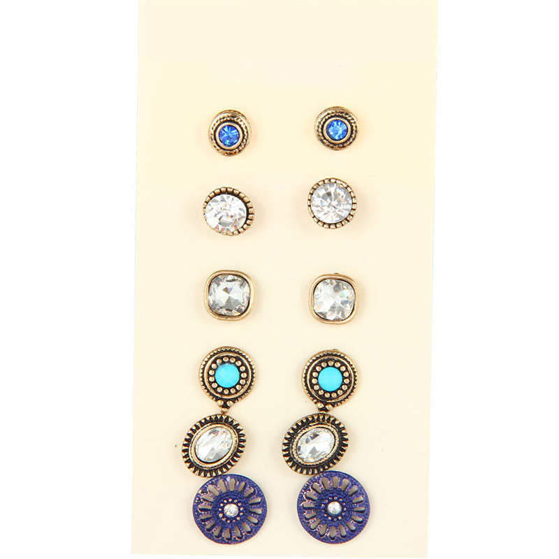 New Fashion Accessories Stud Earring Sets 6 Pairs Multiple Color Round Hollow Carved Flower Crystal Earring For Women Jewelry