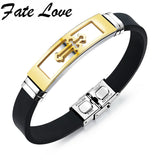 Fashion Rock Men Boy Black Golden Cross Stainless Steel Genuine Silicone Leather Adjustable Bracelet Bangle Wristband HD1086
