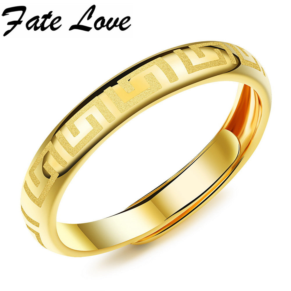 Fate Love Classic Retro Style The Great Wall Pattern Gold Plated Copper Rings Personality Allergy-Fade Processing Men Ring FL040