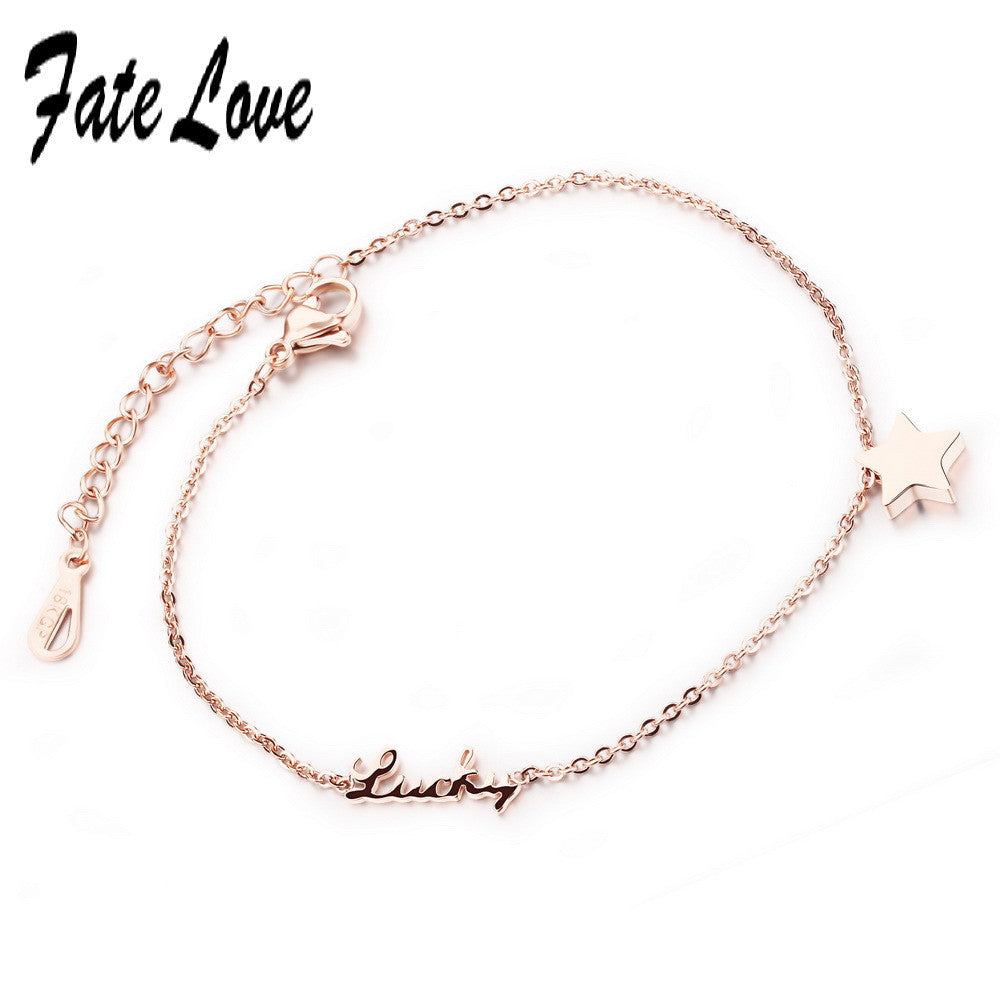 Promotion New Charm Rose Gold Plated Anklets Love  Foot jewelry Star Anklets for Women Girl High Quality FL015