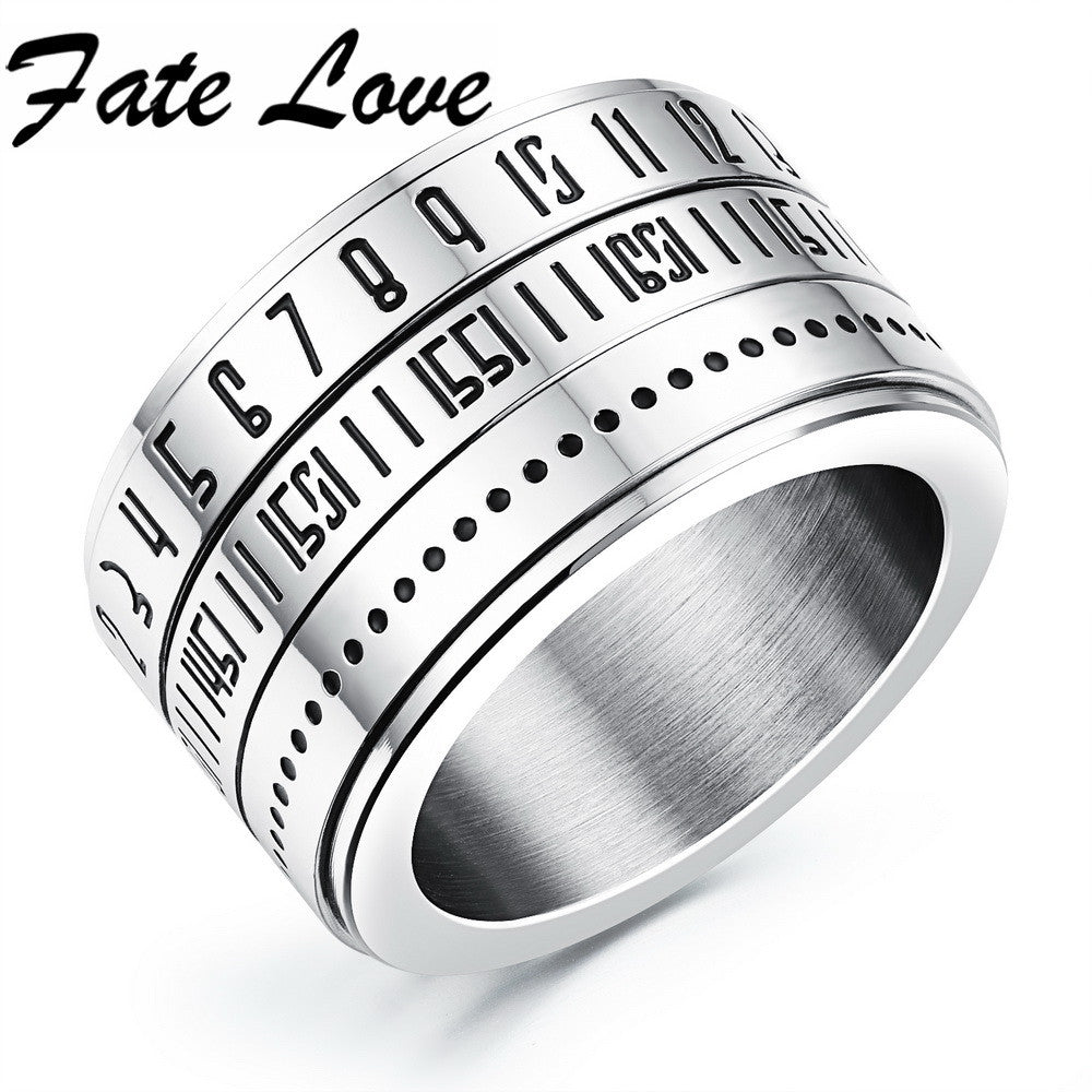 Classic Rotatable Numeral Silver Unique Men 316L Stainless Steel Wear Smooth Mirror Polishiing Rings Best Gift FL511