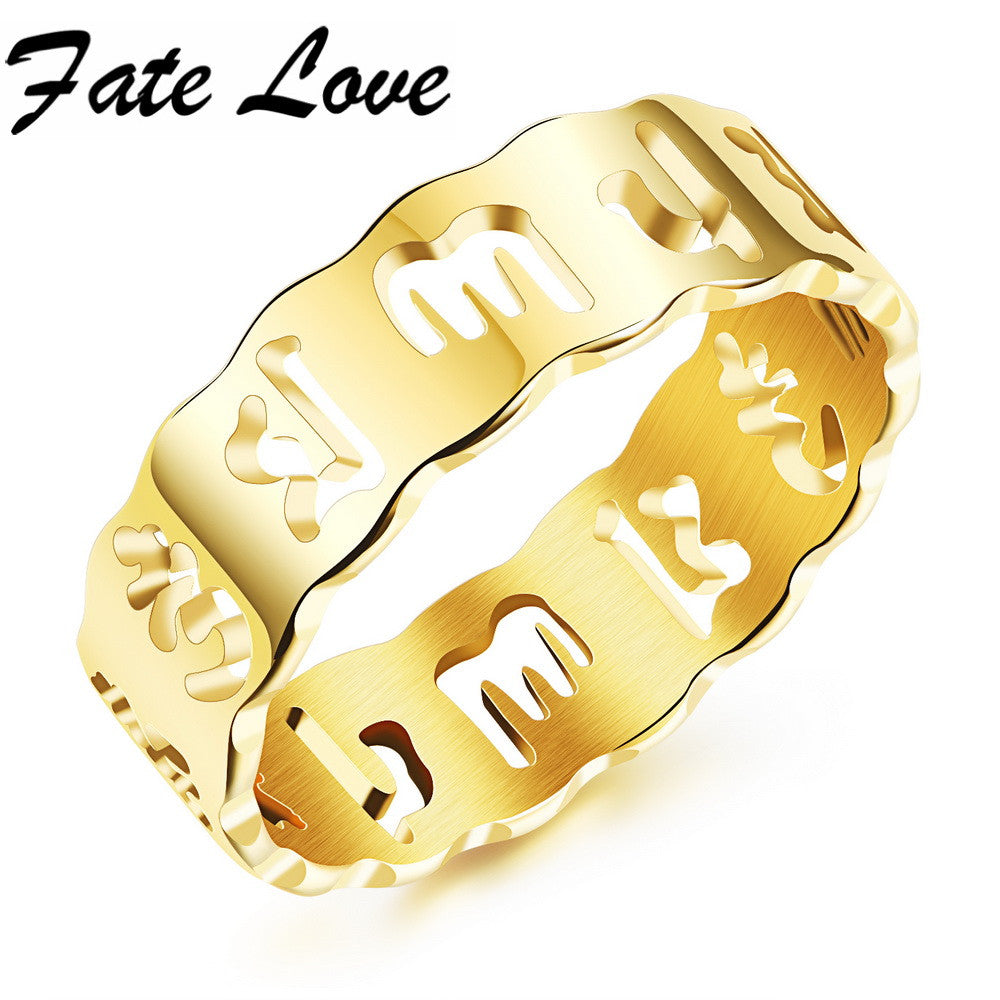 Classic Om Mani Padme Hum Religion Words Silver Golden Plated Men Women Stainless Steel Hollow Rings Best Gift FL510
